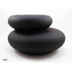 Cache pot imitation galet zen NOIR