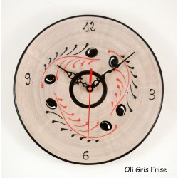 Horloge murale gris et rouge