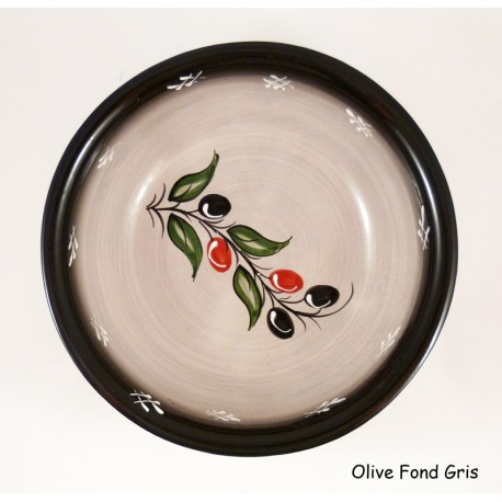 Saladier plat 23X7 cm gris olive