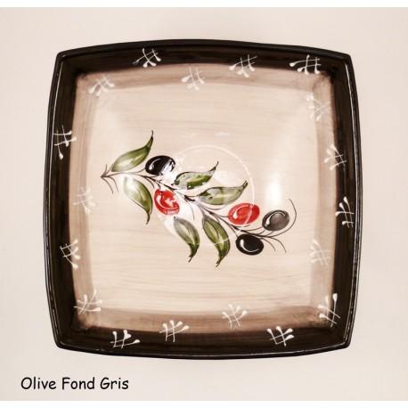 Saladier plat carré en terre cuite Olive Fond Gris