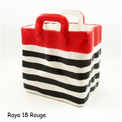 Panier couvert rayure Rouge