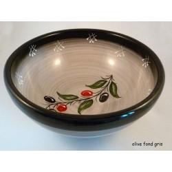 Saladier bol olive frise gris