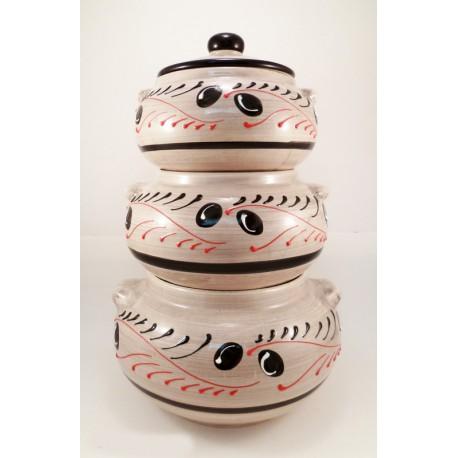 pot superposé à ail oignons et échalotes frise motif olive fond gris