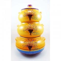 pot superposé à ail oignons et échalotes décor olive avec fond gris
