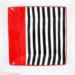 Assiette 30 cm Carré Noir et Rouge
