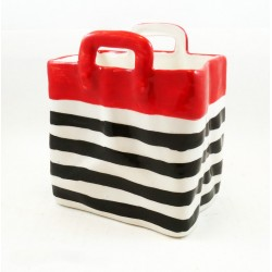 Panier couvert rouge rayure